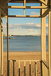 Middle Beach, Madison, CT. View from wooden gazebo at Long Island Sound and coast.