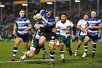Paul Grant of Bath Rugby runs in a try in the first half. Aviva Premiership match, between Bath Rugby and Northampton Saints on February 10, 2017 at the Recreation Ground in Bath, England. Photo by: Patrick Khachfe / Onside Images