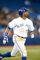 Toronto Blue Jays outfielder Rajai Davis #11 during an American League game against the Seattle Mariners at the Rogers Centre on September 13, 2012 in Toronto, Ontario.  Toronto defeated Seattle 8-3.  (Mike Janes/Four Seam Images)