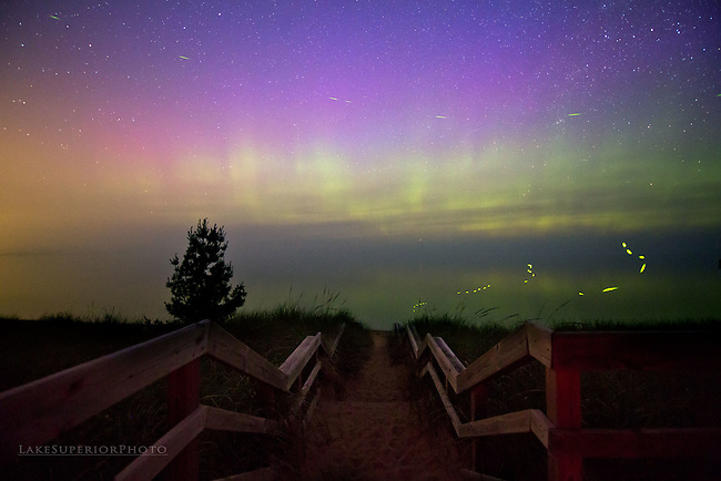 aurora borealis over lake superior, summer, fireflies