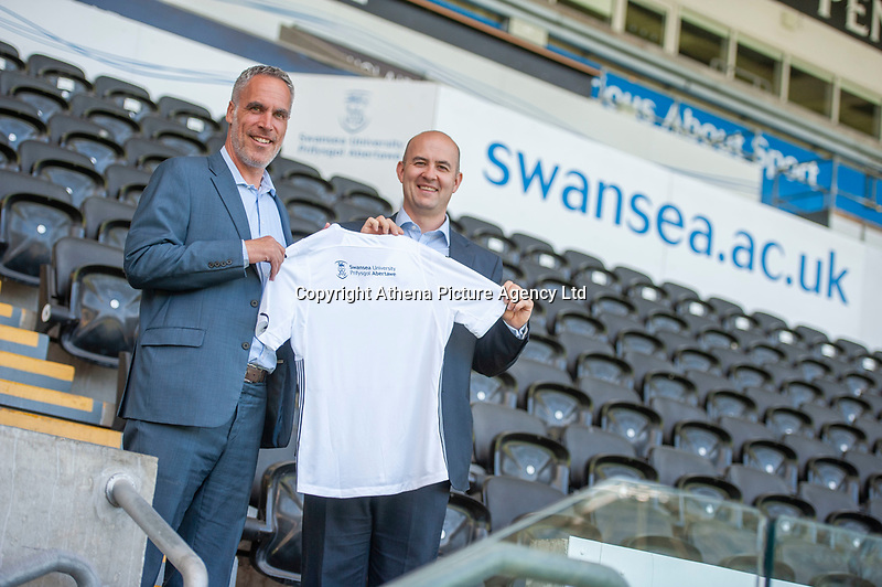 Pictured: Chris Pearlman of Swansea City FC.<br /> Re: Swansea University sponsor shoot at the Liberty Stadium, Wales, UK. 19 July 2018