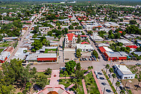 Aerial view of the church or Parish of Our Lady of Guadalupe, kiosk and public square of the town of Cumpas, Sonora, Mexico. It is part of the Sierra Route in Sonora Mexico. located in the lower region of the Sierra Madre Occidente. It was founded in 1643 by the Jesuit missionary Egidio Monteffio under the name of Our Lady of the Assumption of Cumpas, with the purpose of evangelizing the Opal tribes that inhabited that place in the previous times and during the conquest.<br />  (© Photo: LuisGutierrez / NortePhoto.com)<br /> Vista aerea de la iglecia  o Parroquia de Nuestra señora de Guadalupe, kiosko y plaza publica del pueblo de Cumpas, Sonora, Mexico. Forma parte de la  Ruta de la Sierra en Sonora Mexico. ubicado en la región baja de la Sierra Madre Occidenta. Fue fundado en 1643 por el misionero jesuita Egidio Monteffio bajo el nombre de Nuestra Señora de la Asunción de Cumpas, con el propósito de evangelizar a las tribus ópatas que habitaban ese lugar en los tiempos anteriores y durante la conquista.<br />  (© Photo: LuisGutierrez / NortePhoto.com)