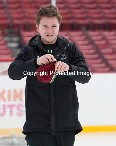 Brian Hurley (BC - Student Manager) - The Boston College Eagles practiced on the rink at Fenway Park on Friday, January 6, 2017.