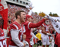 NWA Democrat-Gazette/BEN GOFF @NWABENGOFF<br /> The Arkansas bench celebrates as the Arkansas defense shuts down Auburn in the fourth overtime period on Saturday Oct. 24, 2014 during the game in Razorback Stadium in Fayetteville.