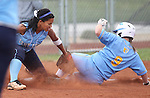Centennial's Savannah Horvath tags Reed's Mary Dettling out during the NIAA 4A semi-final softball game in Reno, Nev. on Thursday, May 16, 2012. Reed won 5-4..Photo by Cathleen Allison