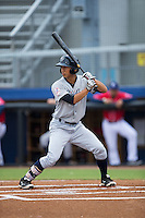 Gosuke Katoh (28) of the Pulaski Yankees at bat against the Danville Braves at Legion Field on August 7, 2015 in Danville, Virginia.  The Yankees defeated the Braves 3-2. (Brian Westerholt/Four Seam Images)