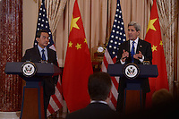 Washington, DC - February 23, 2016: U.S. Secretary of State John Kerry (r) responds to a reporter's question as Chinese Foreign Minster Wang Yi looks on during a press availability in the Ben Franklin Room of the U.S. Department of State in the District of Columbia, February 23, 2016.  (Photo by Don Baxter/Media Images International)