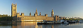 Summer dawn over the River Thames and Houses of Parliament, London, Uk