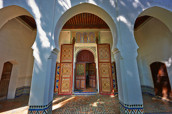 Arabesque Moorish architecture of the Dar Jamai Museum  a typical dwellings of high Moroccan bourgeoisie at the end of XIX century. located in the old Medina built by Mohamed Ben Larbi Jamai grend vizier of Sultan Moulay Hassan (1873-1894). Meknes, Morocco