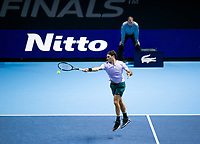 Roger Federer of Switzerland (2) in action during his victory over Jack Sock of USA (8) in their Group Boris Becker match today - Federer def Sock 6-4, 7-6<br /> <br /> Photographer Ashley Western/CameraSport<br /> <br /> International Tennis - Barclays ATP World Tour Finals - O2 Arena - London - Day 1 - Sunday 12th November 2017<br /> <br /> World Copyright &not;&copy; 2017 CameraSport. All rights reserved. 43 Linden Ave. Countesthorpe. Leicester. England. LE8 5PG - Tel: +44 (0) 116 277 4147 - admin@camerasport.com - www.camerasport.com