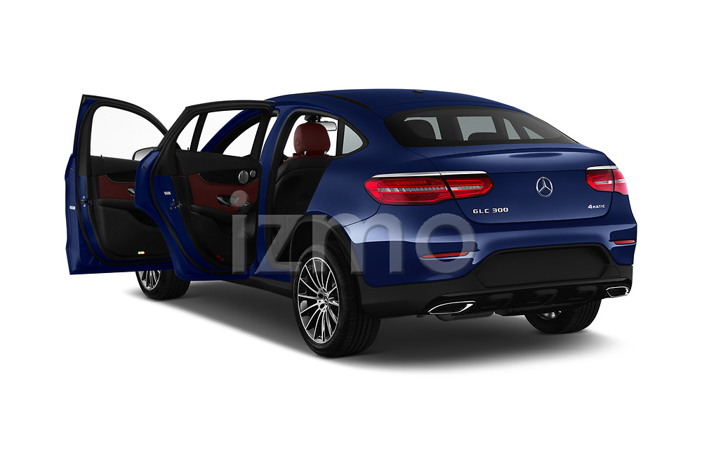 Car images close up view of a 2018 Mercedes Benz GLC Coupe GLC300 4WD 5 Door SUV doors