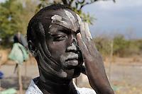 "Afrika Sued-Sudan Rumbek , mit Asche beschmierter Dinka Hirte im cattle camp   -  Afrikaner afrikanisch xagndaz | .Africa South Sudan Rumbek , Dinka shephard with ash painting in face at cattle camp .| [ copyright (c) Joerg Boethling / agenda , Veroeffentlichung nur gegen Honorar und Belegexemplar an / publication only with royalties and copy to:  agenda PG   Rothestr. 66   Germany D-22765 Hamburg   ph. ++49 40 391 907 14   e-mail: boethling@agenda-fototext.de   www.agenda-fototext.de   Bank: Hamburger Sparkasse  BLZ 200 505 50  Kto. 1281 120 178   IBAN: DE96 2005 0550 1281 1201 78   BIC: ""HASPDEHH"" ,  WEITERE MOTIVE ZU DIESEM THEMA SIND VORHANDEN!! MORE PICTURES ON THIS SUBJECT AVAILABLE!! ] [#0,26,121#]"