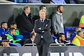 28th September 2017, Goodison Park, Liverpool, England; UEFA Europa League group stage, Everton versus Apollon Limassol; Ronald Koeman manager of Everton FC waiting for the final whistle as his team lead 2-1