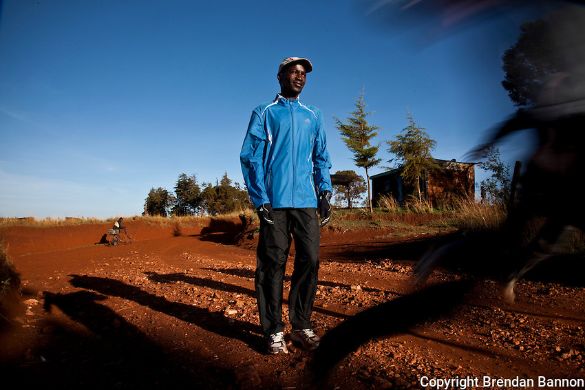 Elias Maindi, 28, winner of the 2008 Linz marathon, trains close to the Kenyan town of Iten. Athletes there are being hit by the economic crisis which is robbing races and runners of crucial sponsorship. Maindi trains a small group of aspiring atheletes.