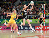 16.09.2012 Silver Ferns Anna Harrison and Australian Kimberlee Green in action during the first netball test match between the Silver Ferns and the Australian Diamonds played at the Hisense Arena In Melbourne. Mandatory Photo Credit ©Michael Bradley.