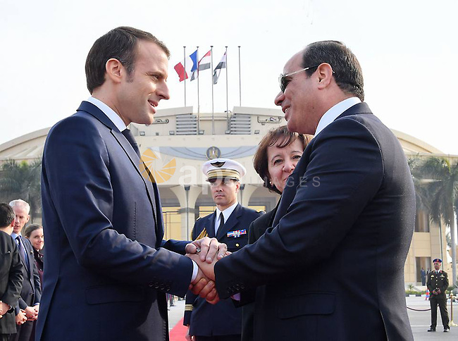 Egyptian President Abdel Fattah al-Sisi shakes hands with French President Emmanuel Macron as he leaves the three days visit to Egypt, Cairo, Egypt, January 29, 2019. Photo by Egyptian President Office \ apaimages