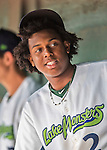 31 August 2016: Vermont Lake Monster infielder Eric Marinez awaits the start of play in the dugout, prior to a game against the Tri-City ValleyCats at Centennial Field in Burlington, Vermont. The Lake Monsters defeated the ValleyCats 5-3 in NY Penn League action. Mandatory Credit: Ed Wolfstein Photo *** RAW (NEF) Image File Available ***