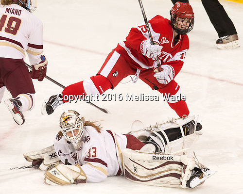 Rebecca Leslie (BU - 19), Katie Burt (BC - 33) - The Boston College Eagles defeated the visiting Boston University Terriers 5-3 (EN) on Friday, November 4, 2016, at Kelley Rink in Conte Forum in Chestnut Hill, Massachusetts.The Boston College Eagles defeated the visiting Boston University Terriers 5-3 (EN) on Friday, November 4, 2016, at Kelley Rink in Conte Forum in Chestnut Hill, Massachusetts.