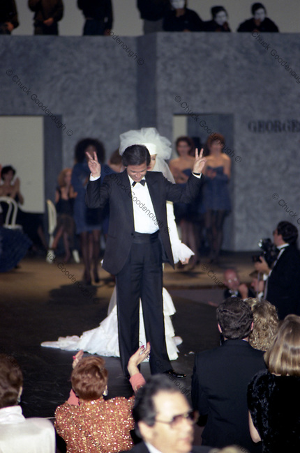 Georges Marciano is on the Runway after a Guess Fashion Show in the 1980's
