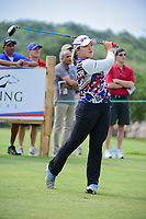 Ha Na Jang (KOR) watches her tee shot on 9 during round 2 of  the Volunteers of America Texas Shootout Presented by JTBC, at the Las Colinas Country Club in Irving, Texas, USA. 4/28/2017.<br /> Picture: Golffile | Ken Murray<br /> <br /> <br /> All photo usage must carry mandatory copyright credit (&copy; Golffile | Ken Murray)