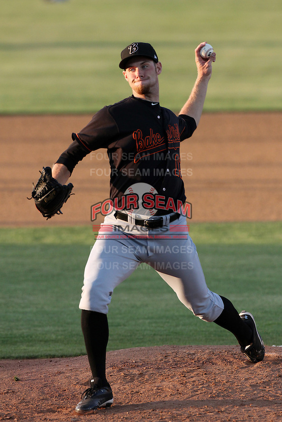 Tony Cingrani #13 of the Bakersfield Blaze pitches against the Lancaster JetHawks at Clear Channel Stadium on May 7, 2012 in Lancaster,California. (Larry Goren/Four Seam Images)