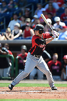 Tampa Spartans outfielder Ian Townsend (43) at bat during an exhibition game against the Philadelphia Phillies on March 1, 2015 at Bright House Field in Clearwater, Florida.  Tampa defeated Philadelphia 6-2.  (Mike Janes/Four Seam Images)