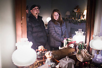 NWA Democrat-Gazette/CHARLIE KAIJO Phil Smeja and Stephanie Smeja of Bentonville (from left) look at decorations and accessories in the girl's room, Friday, November 29, 2019 at the Peel Mansion in Bentonville.<br /> <br /> Christmas decorations adorned the rooms of the Peel Mansion to welcome visitors. The Peel Compton Foundation will host their holiday fundraiser Christmas at the Mansion on December 6 from 6pm to 9pm. Proceeds from the event will help to keep the mansion running and keep admissions costs free. Visitors have enjoyed free admission to the mansion for over a year.