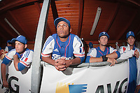 17 August 2010: Brice Lorienne, Gary Garcia Martinez, Jonathan Dechelle, Eloi Secleppe are seen in the dugout during the Czech Republic 4-3 win over France, at the 2010 European Championship, under 21, in Brno, Czech Republic.