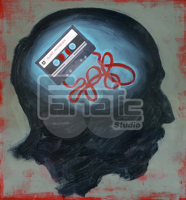Conceptual illustration of audio cassette scrambled depicting confusion