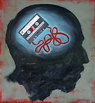 Conceptual illustration of audio cassette scrambled depicting confusion