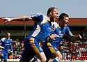 Charlie Griffin of Stevenage Borough (l) celebrates scoring the first goal with Scott Laird during the Blue Square Premier match between Kidderminster Harriers and Stevenage Borough at the Aggborough Stadium, Kidderminster on Saturday 17th April, 2010..© Kevin Coleman 2010
