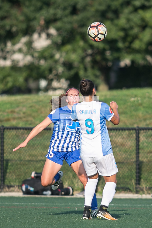 Allston, MA - Saturday August 19, 2017: Amanda DaCosta, Camila Martins Pereira during a regular season National Women's Soccer League (NWSL) match between the Boston Breakers and the Orlando Pride at Jordan Field.