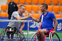 Rotterdam,Netherlands, December 15, 2015,  Topsport Centrum, Lotto NK Tennis, Jelle Oosterwijk (R) congratulates winner Maikel Scheffers (NED)<br /> Photo: Tennisimages/Henk Koster