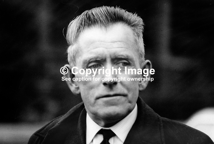 Patrick McGill, senator, Nationalist Party, N Ireland Parliament, Stormont, also editor, Ulster Herald newspaper, Omagh, Co Tyrone, January, 1970, 197001000021<br /> <br /> Copyright Image from Victor Patterson, 54 Dorchester Park, Belfast, UK, BT9 6RJ<br /> <br /> t1: +44 28 9066 1296 (from Rep of Ireland 048 9066 1296)<br /> t2: +44 28 9002 2446 (from Rep of Ireland 048 9002 2446)<br /> m: +44 7802 353836<br /> <br /> e1: victorpatterson@me.com<br /> e2: victorpatterson@gmail.com<br /> <br /> The use of my copyright images is subject to my Terms &amp; Conditions.<br /> <br /> It is IMPORTANT that you familiarise yourself with them. They are available on my website at www.victorpatterson.com.<br /> <br /> None of my copyright images may be used on a website unless they are visibly watermarked, i.e. &copy; Victor Patterson within the body of the visible image. Metadata denoting my copyright must NOT be deleted. <br /> <br /> Web use (maximum size - 400 kb) is extra at currently recommended NUJ rates.