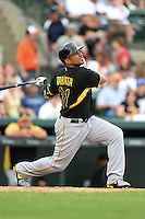 Outfielder Jose Tabata (31) of the Pittsburgh Pirates during a spring training game against the Baltimore Orioles on March 23, 2014 at McKechnie Field in Bradenton, Florida.  Baltimore and Pittsburgh played to a 7-7 tie.  (Mike Janes/Four Seam Images)