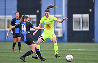 20191123 – BRUGGE, BELGIUM : Brugge's  Emma Van Britsom (left) pictured in a duel with Gent' Nicky Van Den Abbeele (r)  during a women soccer game between Dames Club Brugge and K AA Gent Ladies on the ninth matchday of the Belgian Superleague season 2019-2020 , the Belgian women's football  top division , saturday 23 th November 2019 at the Jan Breydelstadium – terrain 4  in Brugge  , Belgium  .  PHOTO SPORTPIX.BE | DAVID CATRY
