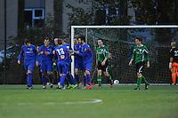 VOETBAL: HEERENVEEN: 07-11-2015, Heerenveense Boys - Zwaagwesteinde, uitslag 2-3, Rene Nauta (#10) scoort uit een penalty, uitslag 2-3, ©foto Martin de Jong