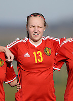 20150307 - TUBIZE , BELGIUM : Belgian Inne De Smet pictured during the friendly female soccer match between Women under 19 teams of  Belgium and Czech Republic . Saturday 7th March 2015 . PHOTO DAVID CATRY