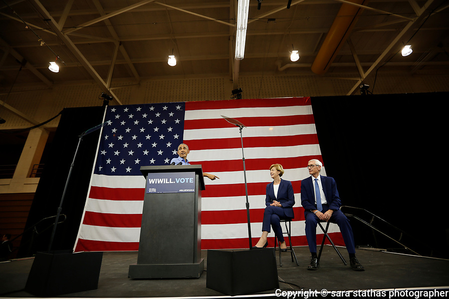 Former U.S. President Obama speaks during a campaign rally for democratic candidates Evers and U.S. Senator Baldwin in Milwaukee