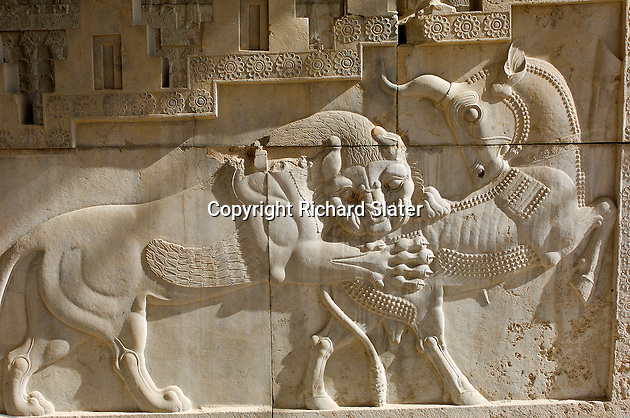 The ancient city of Persepolis in Iran was built by the Persian emperor Darius I in the 5th century BC. Although it was sacked and burned by Alexander the Great, the fine detail of the carved reliefs on many of its walls has survived even to the present day.