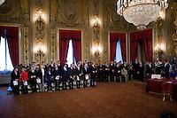 La cerimonia del giuramento del nuovo Governo Letta nel Salone delle Feste del Quirinale.