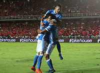 CALI - COLOMBIA, 7-12-2017:David Mackallister Silva jugador de Millonarios celebra su gol contra el América de Cali durante  el primer partido por la semifinal  ida de la Liga Aguila 2017  entre el América de Cali y Millonarios , jugado en el estadio Pascual Guerrero de la ciudad de Cali. /  David Mackallister Silva player of Millonarios celebrates his goal agaisnt America de Cali during match of the semifinal round of the Aguila League 2017 between America de Cali  and Millonarios, played at the Pascual Guerrero stadium of the city of Cali: Vizzorimage / Felipe Caicedo / Staff