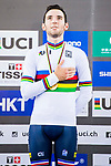 Benjamin Thomas of France celebrates winning in the Men's Omnium's prize ceremony during the 2017 UCI Track Cycling World Championships on 15 April 2017, in Hong Kong Velodrome, Hong Kong, China. Photo by Marcio Rodrigo Machado / Power Sport Images
