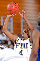 25 February 2010:  FIU's Phil Gary, Jr. (4) shoots a free throw in the second half as the Middle Tennessee Blue Raiders defeated the FIU Golden Panthers, 74-71, at the U.S. Century Bank Arena in Miami, Florida.
