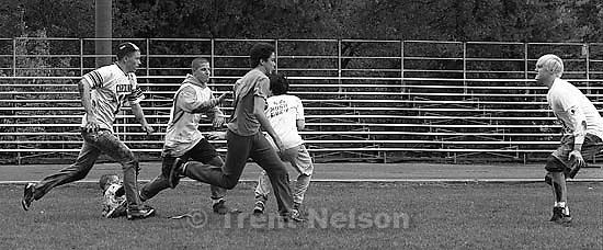 San Ramon Mosh Crew playing mud football. Jerry Alfalter at far right, december 1987.  &amp;#xA;<br />