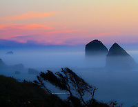 Gift card photo of Jockey Cap rock at Silver Point in south Cannon Beach on the Oregon coast is seen at sunset with purple twilight with mist and fog rolling in on sandy beach from the Pacific Ocean