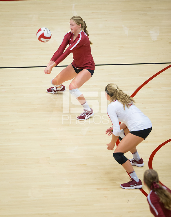 STANFORD, CA - September 9, 2018: Kate Formico, Morgan Hentz, Meghan McClure at Maples Pavilion. The Stanford Cardinal defeated #1 ranked Minnesota 3-1 in the Big Ten / PAC-12 Challenge.