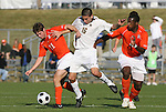 12 November 2008: Boston College's Alejandro Bedoya (16) is defended by Clemson's Eric Cava (11) and Francklin Blaise (4). Boston College defeated Clemson University 1-0 in the second sudden-victory overtime period at Koka Booth Stadium at WakeMed Soccer Park in Cary, NC in a men's ACC tournament quarterfinal game.