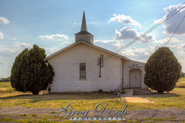 Hext Baptist Church is the only remaining building not abandoned in the ghost town of Hext Oklahoma on Route 66.