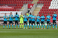 Fleetwood Town team 1 minute applaud in respect to Ray Wilkins during the Sky Bet League 1 match between Rotherham United and Fleetwood Town at the New York Stadium, Rotherham, England on 7 April 2018. Photo by Leila Coker.
